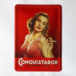 Tabaco Conquistador Postal Metálico 10x15